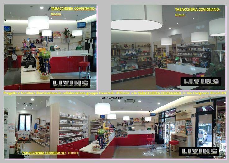 Progetto luce del Living illuminazione Riccione. Negozio illuminato a Rimini Tabaccheria Covignano Rimini RN info@livingriccione.it