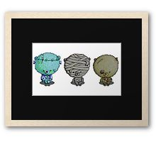 """""""3 Little Monsters"""" by I Love the Quirky - Framed Print. Available in a variety of frame styles and colours. Illustration of mummy bear, zombie bear and Frankented"""