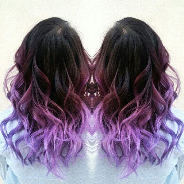 Purple Ombre Hair Color With Natural Waves, New Purple Hair Dye Choice For  Dark Hair