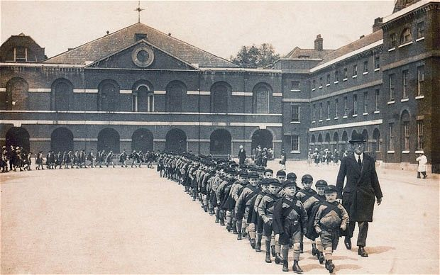 Boys marching out of the London Foundling Hospital for the last time, 1926.  Both the composer George Frideric Handel and the artist William Hogarth were governors of the home.