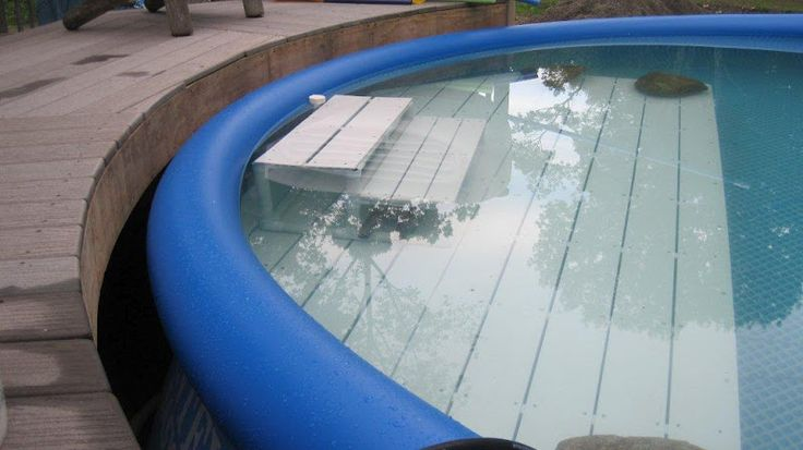 pvc pipes and plastic decking to create shallow area in above ground pool
