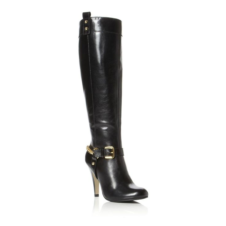 DUNE SHIRLEY BLACK LEATHER LADIES CHAIN KNEE HIGH HEELED BOOTS SHOES SIZE 4