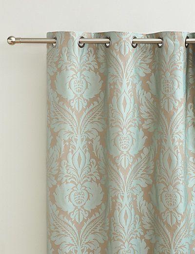 Glamorous Damask Eyelet Curtains   M&S