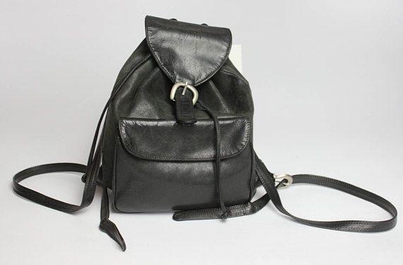 Vintage Schwarzer Leder Minirucksack Schnalle Kleiner Rucksack