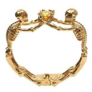 This Alexander McQueen Bracelet Contains Topaz and a Skeleton Design #halloween trendhunter.com