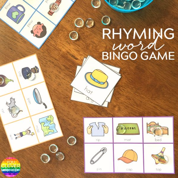 Printable Rhyming Word BINGO Game - ready to print this classroom game of Rhyming CVC Word BINGO is a fun addition to your literacy center rotations or to play as a whole class | you clever monkey