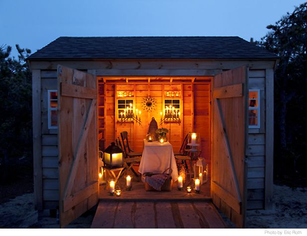 Candlelight picnic in the Garden Shed