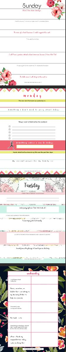30 Days of devotional journal worksheets for everyday of the week! The site also have 7 FREE devotional journal sheets for everyday of the week. - Her Binder Project devotional journal ideas printables christian prayer journal binder small group connect ideas college teens