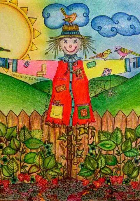 ideias jardim secreto:Secret Garden Coloring Book Scarecrow