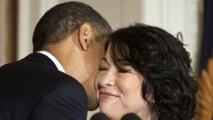 """Obama kisses Sonia Sotomayor after announcing her as a Supreme Court nominee on Tuesday, May 26. Sotomayor went on to become the court's<a href=""""http://www.cnn.com/2009/POLITICS/08/06/sonia.sotomayor/index.html"""" target=""""_blank""""> first Hispanic justice.</a>"""