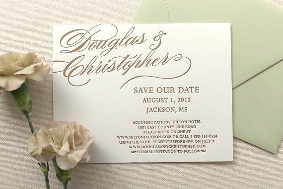 The Begonia Suite  Letterpress Save the Date by Dinglewood Design and Press