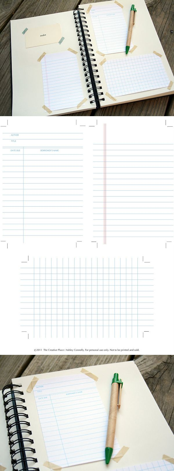 Free printable journal cards: Library, Lined & Graph. http://thecreativeplace.blogspot.ca/2011/05/diy-printable-library-graph-and-notes.html