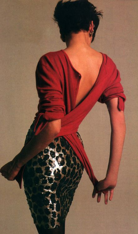 Wayne Maser for American Vogue, July 1987. Clothing by Bill Blass. Back when you didn't need to have a huge butt.