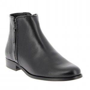 Chaussures Bottillon cuir et python noir, talon 3 cm | 1001 Pattes