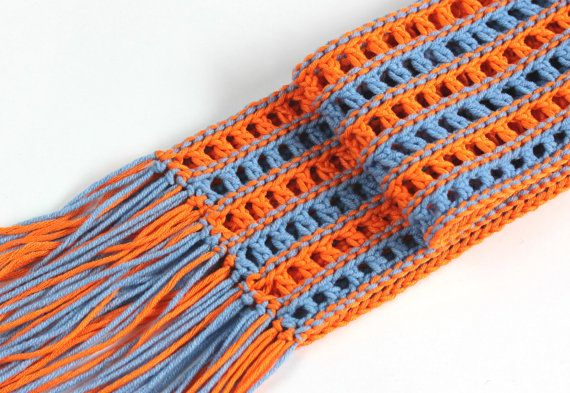 Summer knitted scarf blue and orange- Spring knitted scarf blue and orange-Melange summer knitted scarf-Cotton-7 cm x 200 cm with fringes