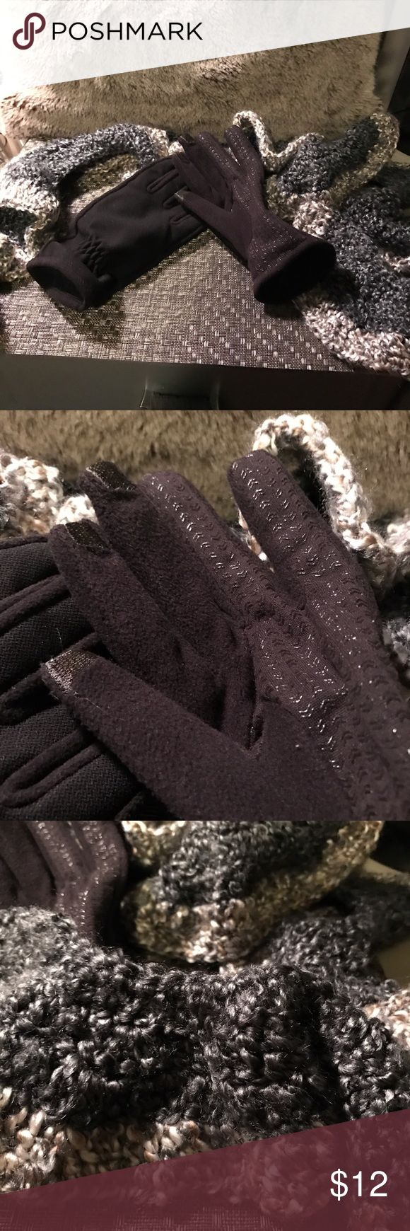 Isotoner smartphone gloves xl, homemade scarf Brand new womens Isotoner smart touch winter gloves, size xl, tag is cut out. Solid black with special finger material for using a smartphone.  New never worn handmade scarf.  Smoke free home Isotoner Accessories Gloves & Mittens