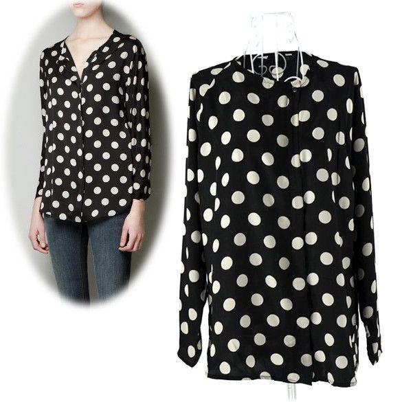New Fashion Womens Round Neck Long Sleeve Big Dot Chiffon Blouse Shirt Tops