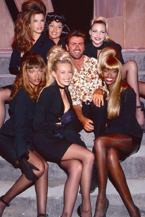 Tyra Banks, Linda Evangelista, Estelle Lefébure, Eva Herzigova, George Michael, and Beverly Peele