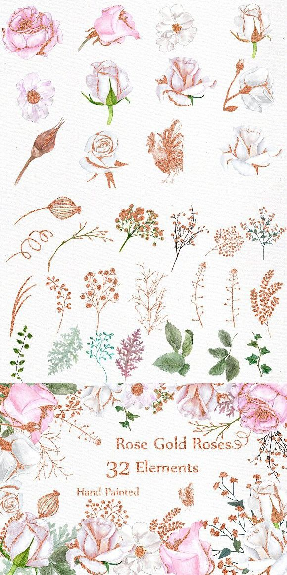 Rose Gold Watercolor Flowers Clipart Watercolor Flower Vector