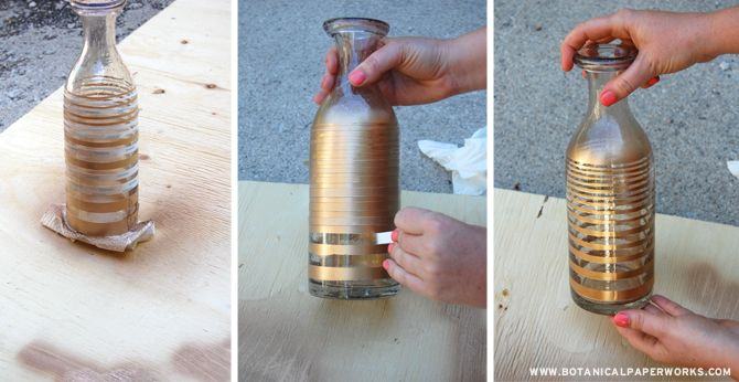 Up-Cycle Craft: Make gorgeous gold patterned centrepieces from old glass vases and containers around your house.