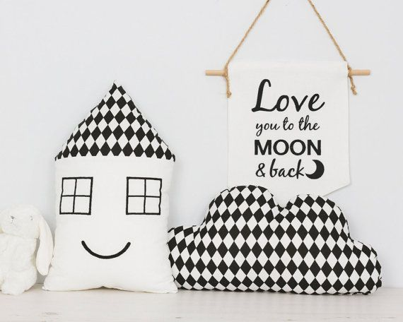 Baby Pillow SET Scandinavian style Nursery decor Cloud cushion and house shape cushion
