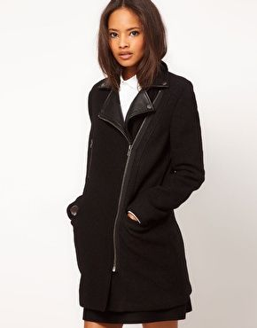 My Cyber Monday purchase from @asos.com! 30% off!: Black Coats, Asos Coats, Clothing Style, Leather Collars, Biker Coats, Wool Biker, Asos Wool, Coats W Leather, Wool Coats