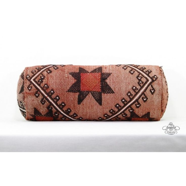 """Embroidered Vintage Cylinder Pillow Decorative Kilim Bolster Cushion Cover Turkish Designer Round Pillowcase 8""""H x 20""""L Sofa Couch Pillowsham With Free Insert Cover"""
