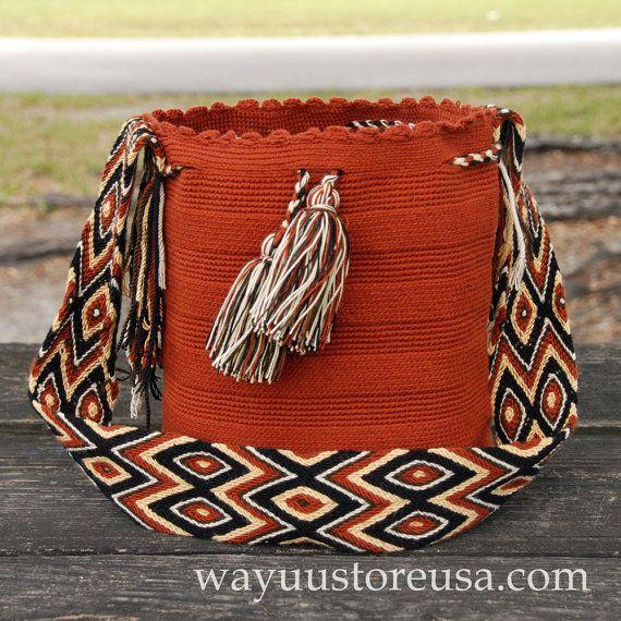 Bohemian Bag in earthy tones Boho Bag Wayuu Bags by loveandlucky