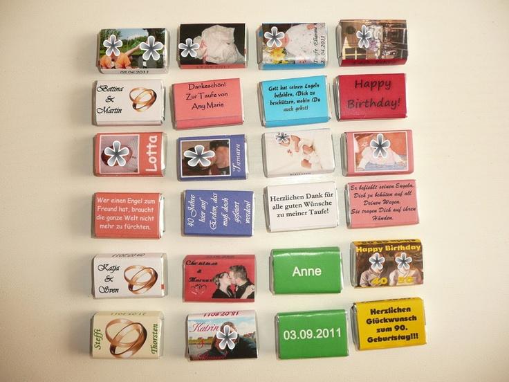 """50 Personalisierte Schokoladentäfelchen für die Hochzeit.(oder andere Anlässe)  Man kann die Täfelchen als Gastgeschenke verwenden oder aber als """"P..."""