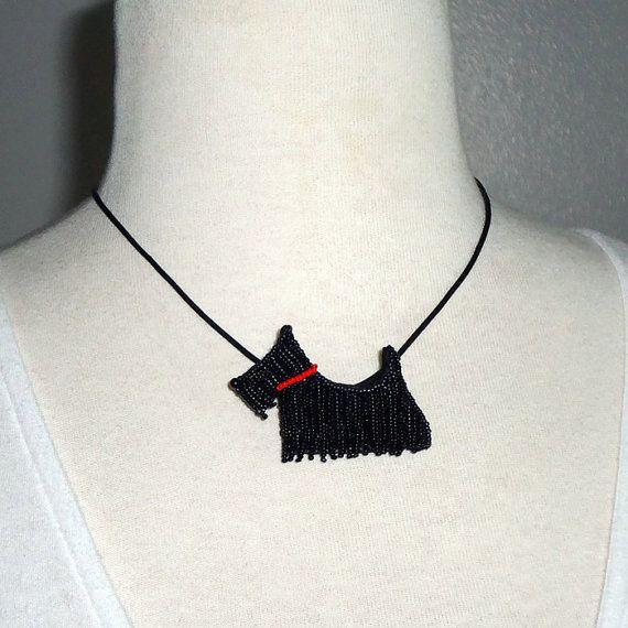 SCOTTISH TERRIER beaded Scottie Dog pin pendant by thelonebeader