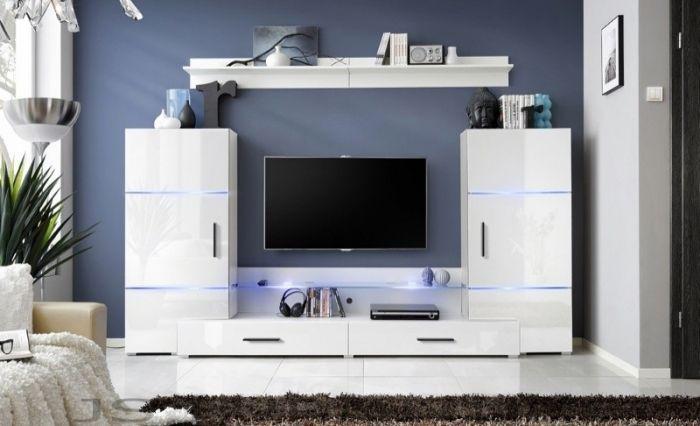 Wohnwand In Weiss Hochglanz Der Allrounder Im Wohnbereich Tv Wandpaneel Moderne Schrankwande Und Wohnwand Modern