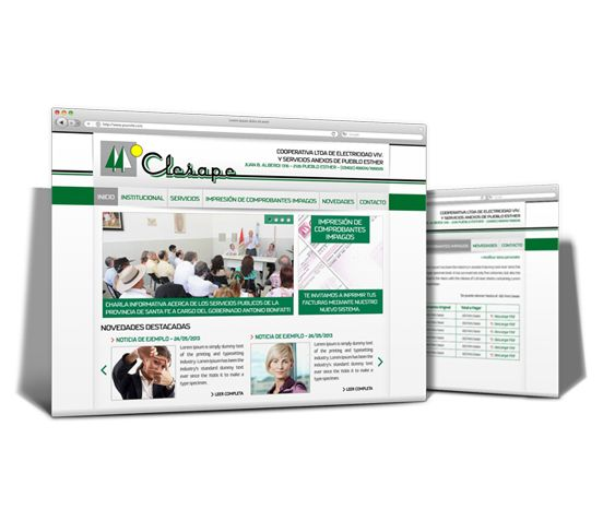 """Realizamos el diseño, maquetación y programación del sitio web de """"Clesape"""". El mismo es totalmente administrable y además cuenta con un sistema de usuarios y la posibilidad de imprimir las facturas online para poder realizar el respectivo pago."""