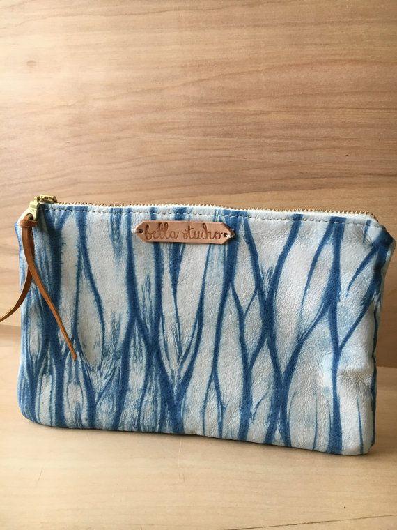 leather clutch. shibori clutch. indigo. hand dyed by mybellastudio