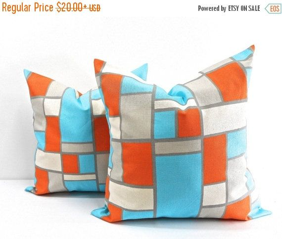SALE Hopscotch Mandarin/Natural Pillow by TwistedBobbinDesigns