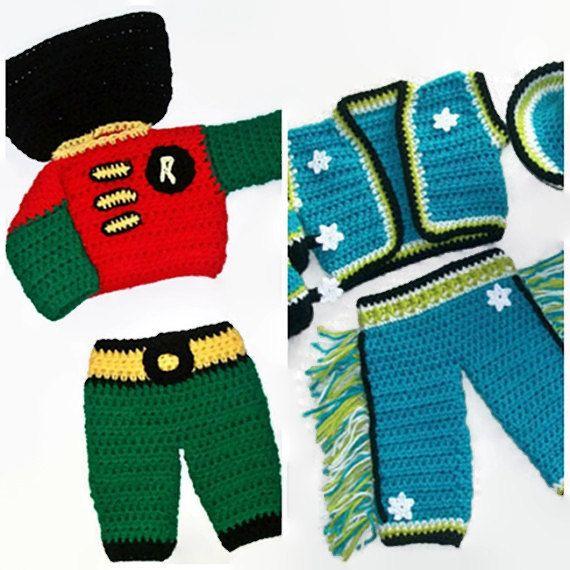 PDF Patterns Boys - Handmade Boy Costumes - Crochet Baby Boy - Baby Crochet Pattern - Cowboy Pattern - Robin Outfit - Prop Boy Sets