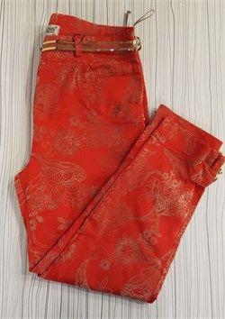 Bayan Büyük Beden Desenli Likralı Büyük Beden Bilekboy Pantolon