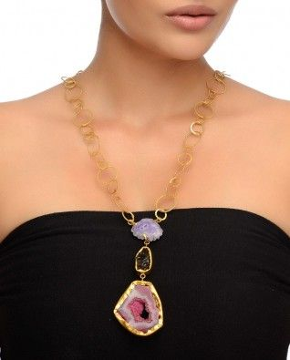 Golden Ring Chain Necklace with Agate Stones #Exclusivelyin #IndianEthnicWear #IndianWear #Fashion #Jewelry