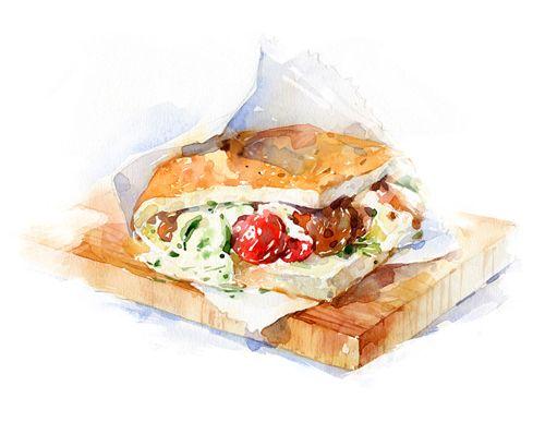Les 568 meilleures images du tableau food illustration sur for Peinture alimentaire cuisine
