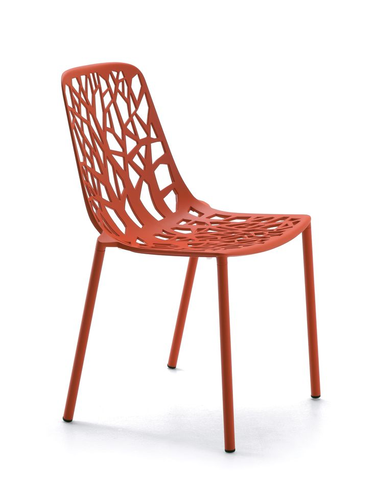 FOREST collection. Chair Coral Red / Sedia Rosso Corallo. FAST IN_OUT_ALUMINIUM