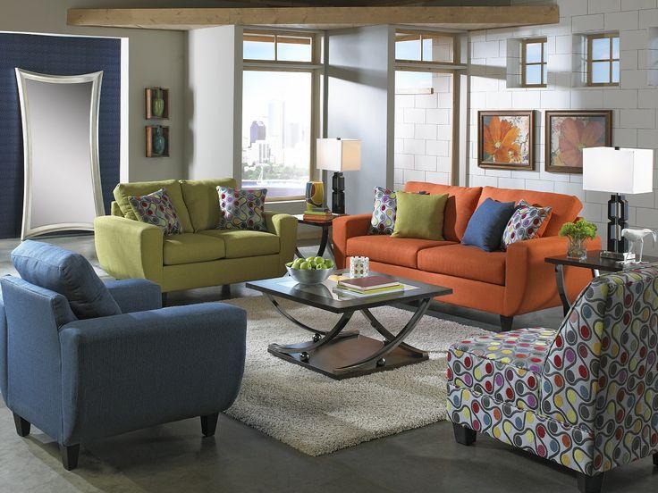 Rosemont Collection 3200 Orange Sofa U0026 Loveseat Set