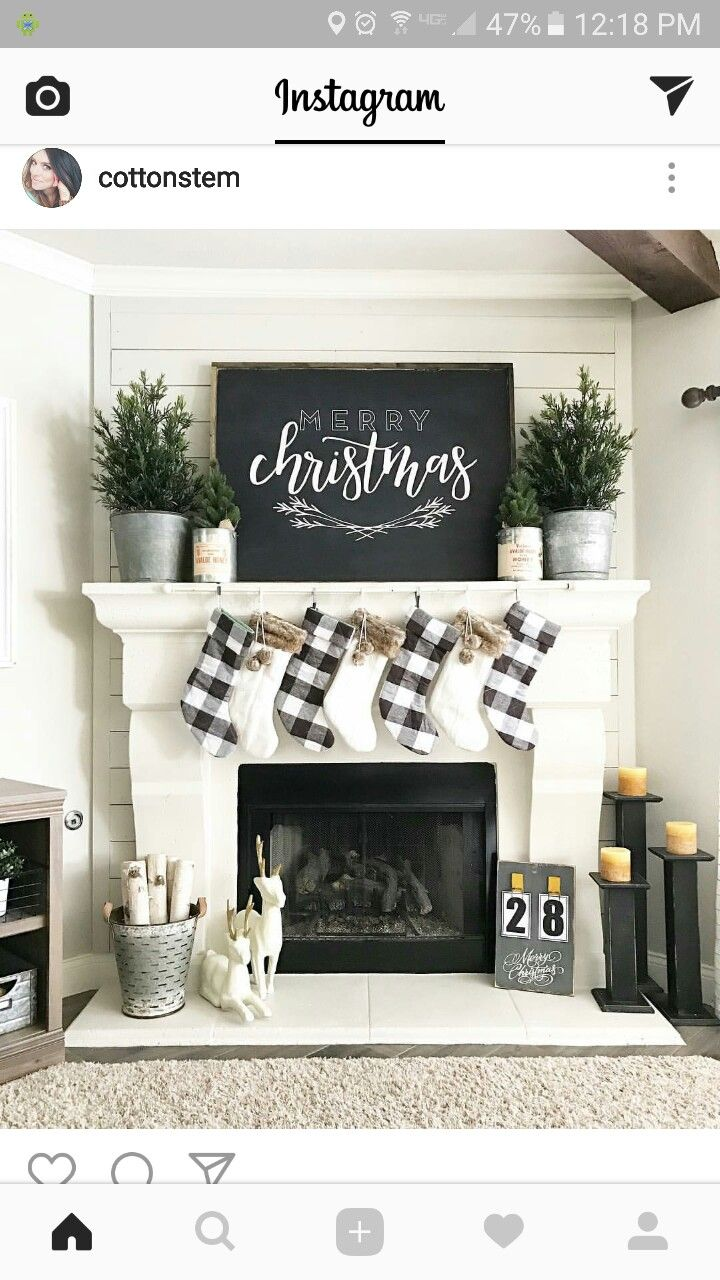 Love the chalkboard on the mantel