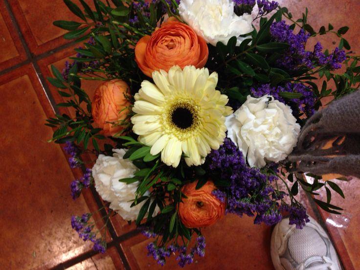 Bukett, hvit, oransje, lilla