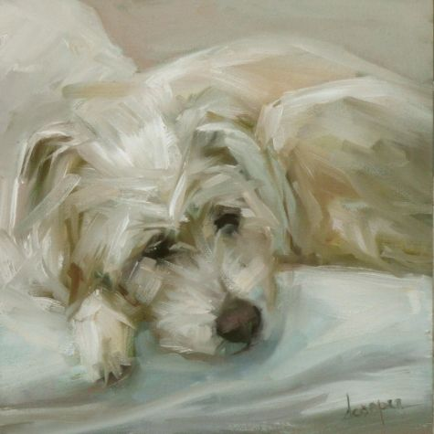 In Repose - by artist Dana Cooper (am digging the brush strokes that make up the dog's fur - well done)