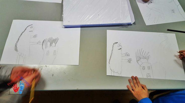 """Mostri con l'Impronta del Piede. Tracciare e Trasformare le proprie Impronte, completando con alcuni tratti di Disegno Libero. Uno """"strumento"""" artistico per i Bambini sempre a portata di """"Mano""""."""