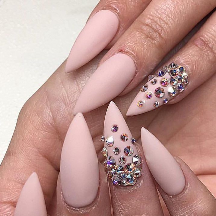 Nude stilettos with Swarovski crystal feature nails. by thenailbarsydney http://ift.tt/1NRMbNv