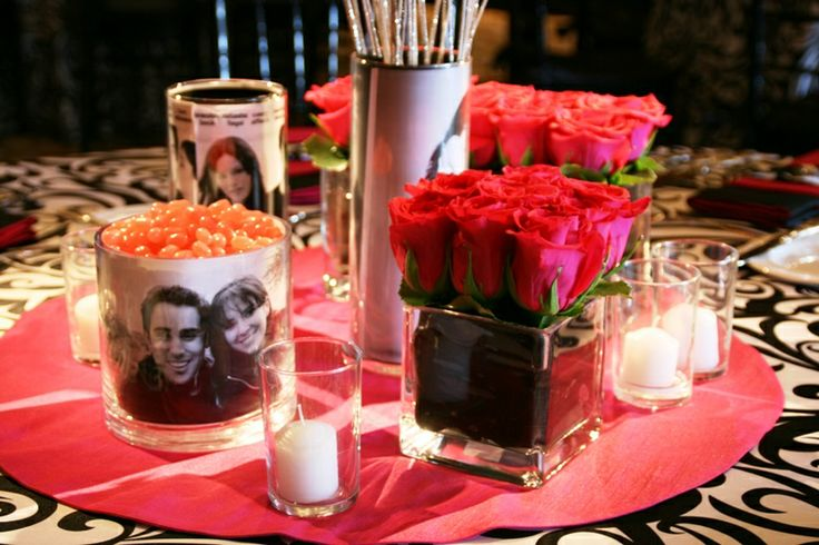 Rehearsal dinner photo centerpieces - use hershey kisses instead of jelly beans