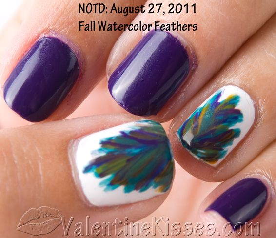 i might try thisNails Art, Fingernail Art, Nails Design, Purple Nails, Nails Polish, Peacocks Colors, Peacocks Feathers, Peacocks Nails, Feathers Nails