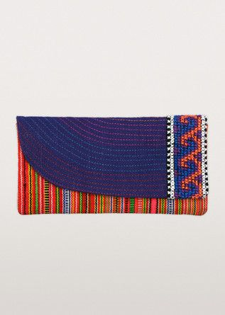 Simply stunning and so colourful! Intricate Hmong embroidery creates waves and stripe motifs in deep purple and a rainbow of hues in this clutch purse from the artisans of Thai Tribal Crafts.