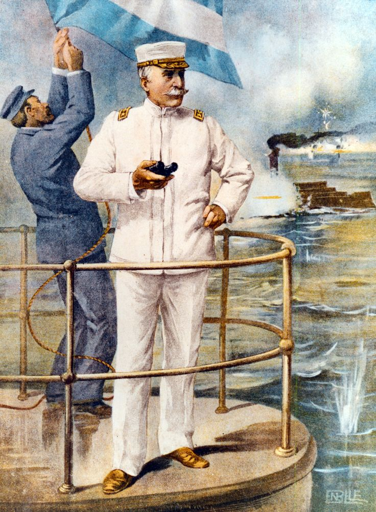 This painting depicts Commodore George Dewey on the bridge of the cruiser USS Olympia during the Battle of Manila Bay.  Source:Naval History and Heritage Command, NH 84510-KN
