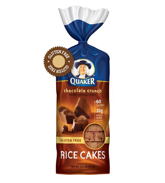Quaker® Rice Cakes - Chocolate Crunch. Spread almond butter and thin banana slices on it for a great gluten free, dairy free, colitis friendly snack!